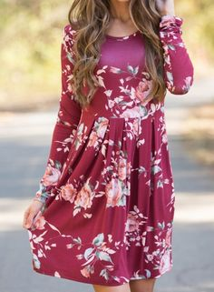 Round Neck Long Sleeve Floral Print Slim Midi Dress