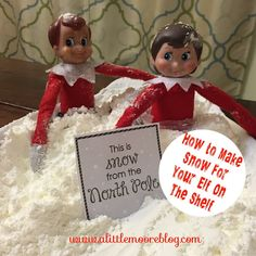 When you are having a mild winter sometimes you have to improvise to get the feeling of a winter wonderland! Here is an easy (albeit a little messy) cure for a quick snow fix for your elf on the sh…