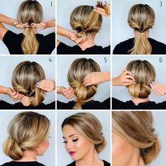 Hairstyles For Medium Length Hair Easy, Work Hairstyles, Braided Hairstyles Tutorials, Medium Hair Styles, Curly Hair Styles, Low Bun Tutorials, Black Hairstyles, Hairdos, Wedding Hairstyles