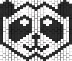 Panda mask for Deorro Kandi Mask Patterns, Pony Bead Patterns, Peyote Patterns, Bracelet Patterns, Beading Patterns, Fun Arts And Crafts, Bead Crafts, Crochet Mask, Beaded Banners