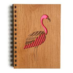 Flamingo Laser Cut Wood Journal (Blank Pages Notebook/Birthday Gift/Gratitude Journal/Handmade/Christmas Gift) Blank Page Notebook, Blank Journal, Journal Notebook, Laser Cut Wood, Laser Cutting, Diary Covers, Laser Cutter Projects, Flamingo Decor, Woodworking School