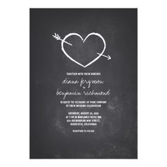 Shop Chalkboard love heart rustic engagement party invitation created by jinaiji. Chalkboard Wedding Invitations, Heart Wedding Invitations, Rustic Bridal Shower Invitations, Rehearsal Dinner Invitations, Engagement Party Invitations, Bridal Shower Rustic, Personalized Invitations, Wedding Invitation Design, Custom Invitations