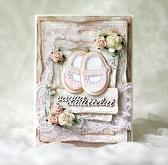 Handmade pink baby card for a baby girl. Made by Pastellipäivä. Baby Cards, Baby Shoes, Shabby Chic, Card Making, Romantic, Frame, Cute, Instagram Posts, Flowers