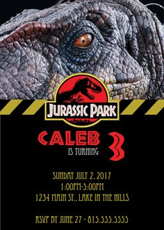DIGITAL* Jurassic Park Party Invitation by NicolePartyDesigns on Etsy