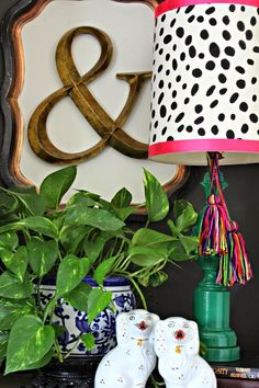 Spring Home Tour      simple covered lampshade      DIY tassels      Blue and White      Staffordshire Dogs