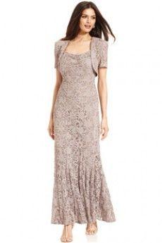 Sheath/Column Spaghetti Straps Floor-length Lace Mother of the Bride Dress