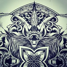 """The Bat is considered a symbol of intuition, dreaming and vision. This made the bat a powerful symbol for Native American shamans and medicine people. Often the spirit of the bat would be invoked when special energy was needed, like """"night-sight"""" which is the ability to see through illusion or ambiguity and dive straight to the truth of matters. -Solstice Mandala Project Day028 by OrgeSTC on deviantART"""