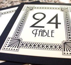 Art Deco Table Numbers Wedding Decor Sign Custom Great Gatsby Roaring Twenties Classic Historical. $2.45, via Etsy.