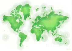 World Map Zona In Green And White by elevencorners. World map wall print decor. #elevencorners #mapzona