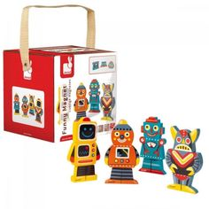 Roboti magnetici Janod. Un joc de asociere si imaginatie: - 12 piese din lemn - 4 roboti - fiecare robot este format din 3 piese din lemn cu magnet. De montat si demontat de cate ori doriti. Lunch Box, Toys, Funny, Magnets, Ha Ha, Gaming, Games, Hilarious