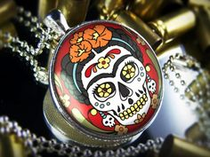 Large Frida Day of the Dead Sugar Skull Necklace 231-LRF