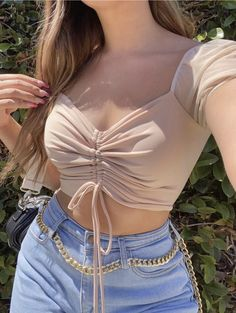 Baddie Outfits Casual, Boujee Outfits, Girly Outfits, Cute Casual Outfits, Girls Fashion Clothes, Teen Fashion Outfits, Skinny Girl Body, Looks Vintage, Cute Crop Tops