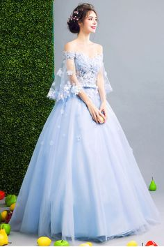 Elegant off shoulder blue tulle prom gown wedding gown