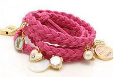*HOT* Juicy Couture Inspired Leather Pink Woven Bracelet with Charms Only $1.59 + FREE Shipping!