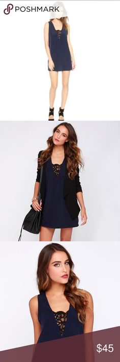 """BB Dakota Navy """"Gracyn"""" Shift Dress Navy shift dress in a silky material with black lace detailing on the front and back necklines. New without tags. BB Dakota Dresses Mini"""