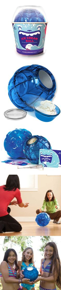 Ice Cream Ball & Cover Quart Blu by YayLabs! Just add ice and rock salt in one end, and yummy ingredients in the other. Last but not least, play with it (the inflatable cover adds cushion, so feel free to go wild). After 20 minutes, your dessert's ready to eat! // want want want #productdesign
