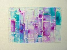 A modern abstract and mixed media painting in magenta pink and turquoise watercolour ink.