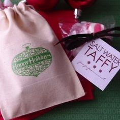Personalized Holiday Muslin Bags with Peppermint Taffy COUPON CODE IS saveme5