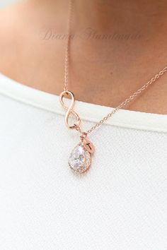 Rose gold diamond Personalized Necklace Jewelry Set Personalized Bridesmaid Gift Set Bridesmaid Necklace Bridal Jewelry Personalize Wedding