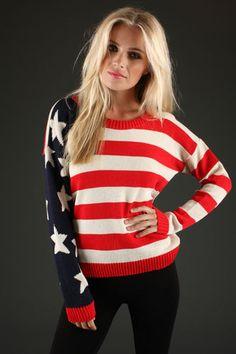 WOMEN AMERICA JUMPER AMERICAN FLAG STARS AND STRIPES