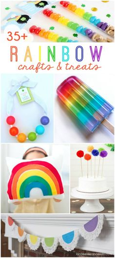 Click through for 30+ rainbow craft and treat ideas! Lots of fun year round ideas or especially fun for St Patricks Day craft and St Pattys treats!