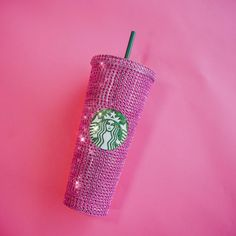 Your place to buy and sell all things handmade Starbucks Coffee Cups, Starbucks Green, Hot Coffee, Mothers Love, Organza Bags, Handmade Items, Crystals, Cold, Pink