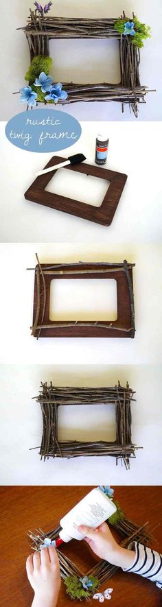 DIY Rustic Twig Frame | eHow.com  <br> A twig frame is a beautiful, rustic way to showcase your most favorite photos. For some extra authenticity, choose twigs from your own backyard or neighborhood. It works well as a group activity and can also be made kid-friendly. Twig Crafts, Frame Crafts, Diy Frame, Nature Crafts, Wood Crafts, Flower Crafts, Diy Flowers, Diy For Kids, Crafts For Kids