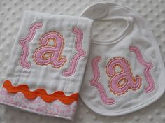 Set of ONE Appliqued BuRP CLoTH and ONE by mylittlehedgehog, $21.99