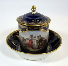 Meissen Covered Cup & Saucer with Boucher Style Painting