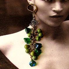 Lark Boho Chic Citrus Green Forest Flower Earrings
