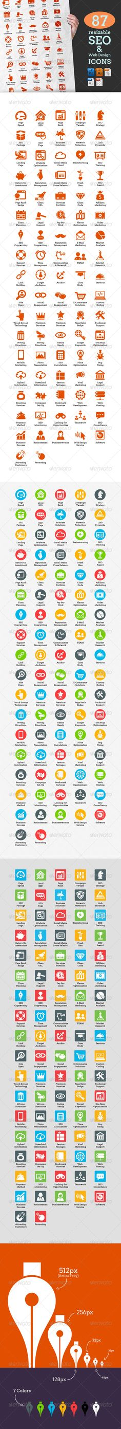 87 Resizable SEO & Web Design Icons - Icons