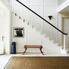 Foyer decorating – Home Decor Decorating Ideas Entry Stairs, Staircase Railings, Entry Hallway, House Stairs, Staircase Design, Staircases, Staircase Molding, Stairway Wainscoting, Wainscoting Height