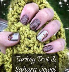 Beautiful Thanksgiving Nail Design Mixing between Turkey Trot & Sahara Jewel - Color Street Nails for Fall! Thanksgiving Nail Designs, Thanksgiving Nails, Nail Color Combos, Nail Colors, Winter Color, November Nails, Fall Manicure, Fall Acrylic Nails, Gel Nails