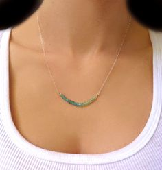 Beaded Necklace Apatite Necklace Raw Gemstone by GlassPalaceArts