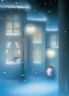 JAANA AALTO, Finland. Blue Christmas, Christmas Photos, Winter Christmas, Troll, Dashing Through The Snow, Gnome House, Nighty Night, Dream Art, Christmas Paintings