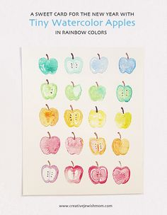 Watercolor Apples In Rainbow Colors For Rosh HaShana Cards!