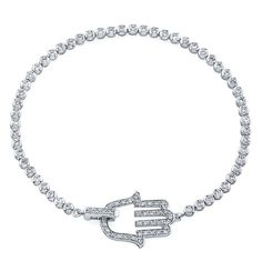 This brilliant white gold Hamsa tennis bracelet features ninety-four beautiful round white diamonds totaling ctw. Victoria Kay, Evil Eye Jewelry, Religious Jewelry, Silver Bangles, Diamond Are A Girls Best Friend, Hamsa, White Gold Diamonds, Bangle Bracelets, Jewelry Accessories