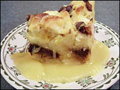 Chocolate-laced bread pudding with bourbon sauce.  This was delicious!
