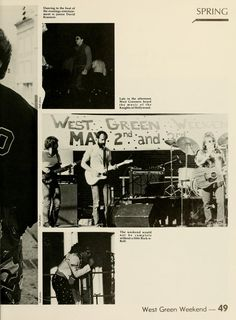 "Athena yearbook, 1986. ""West Green Weekend"" shows The Kings of Hollywood featuring Bruce Dalzell on Telecaster, Dave ""Bubba"" Borowski on bass , and Scott Minar on acoustic guitar. Text incorrectly calls the group the Knights of Hollywood. :: Ohio University Archives"