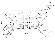 Main Floor Plan of Mascord Plan 1412 - The Harrisburg - Prairie Home with Multiple Wings and Attached Studio