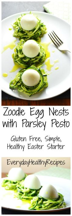 Zoodle Egg Nests with Parsley Pesto
