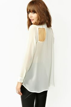 Back Off Blouse in Ivory