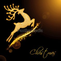 Flying Santa's reindeer, black golden background border with glowing magic light and text space, Christmas tree ornament and winter holidays decoration isolated on black