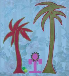 PALMS AND ROOTS - acrylic and plastic with fabric applicated on vynilic - cm. 42x40 ... by Zeno Travegan (Enzo Gravante)