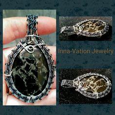 #Wire #wrapped #pendant, #stainless #steel #copper. Gold copper bornite.