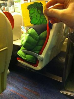 """""""THOR. THIS HULK. HULK BE LATE TO OFFICE. NO EAT HULK'S BAGEL"""" - This Guy Has An Ingenious Solution For Avoiding Boredom On The Train - these are all so funny!! I wish I was sneaky enough to do this on trains haha"""