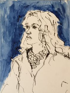 Patti in Black and White with Blue - original ink and acrylic drawing