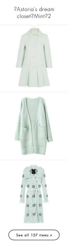 """♡Astoria's dream closet♡Mint♡2"" by astoriachung ❤ liked on Polyvore featuring outerwear, coats, jackets, casacos, coats & jackets, mint, flared coat, green coat, flare coat and red valentino coat"