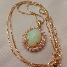 Opal Necklace, Ethiopian Opal, Welo Opal Necklace, Rose Gold/Sterling Silver, Natural Opal, Peach Opal Necklace, Pendant Necklace, Welo Opal, Pink Stone, October Birth Stone, Natural Opal, White Opal, Teal Green, Rose Gold Plates