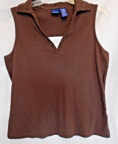 Basic Editions Dark Brown 100% Cotton Top V Neck Eyelet Collar & Trim Size M #BasicEditions #KnitTop #Career